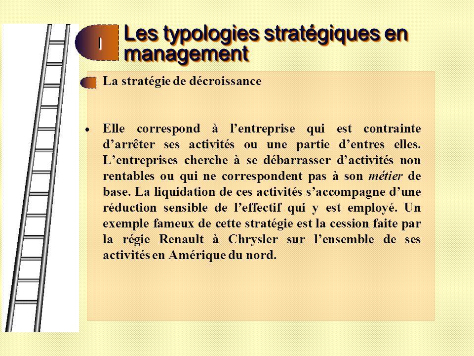 Les typologies stratégiques en management II La stratégie de revirement : ici, à linverse de la situation précédente, lentreprise décide de réagir face à la baisse du niveau de ses activités souvent accompagnée de celle de la profitabilité.