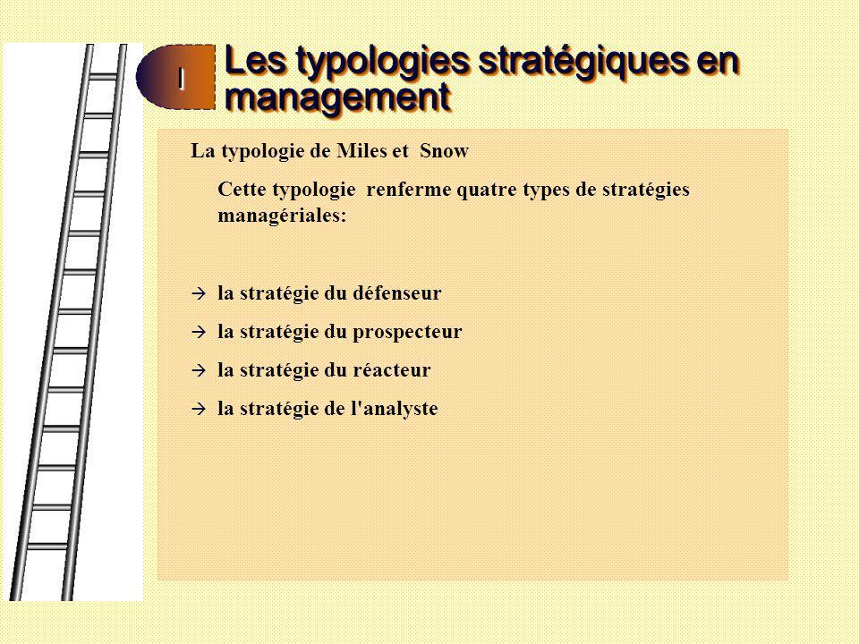 Les typologies stratégiques en management II à la stratégie du défenseur qui opère dans un marché clairement défini et stable, mais qui ne cherche pas à changer son marché.