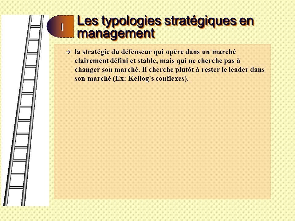 Les typologies stratégiques en management II à la stratégie du prospecteur qui repose sur le fait qu on dispose soit de plusieurs marchés, plusieurs segments d un même marché ou de plusieurs produits d un même segment de marché (Ex: Jean Coutu ou Pharmaprix).
