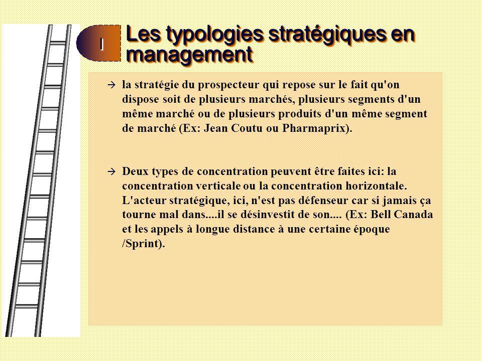 Les typologies stratégiques en management II à la stratégie du réacteur qui s applique aux entreprises qui sont fortement réglementées Ce genre d entreprise a des structures très centralisées.