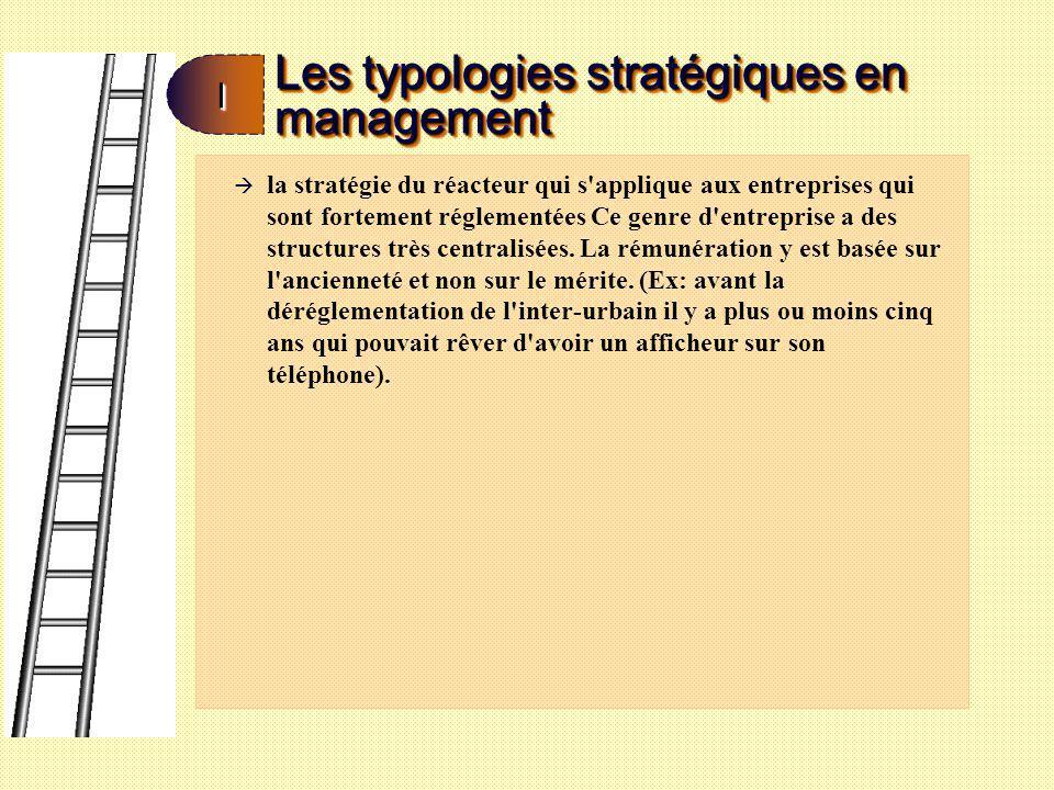 Les typologies stratégiques en management II à la stratégie de l analyste (Le conglomérat): comporte un mélange entre le prospecteur et le défenseur