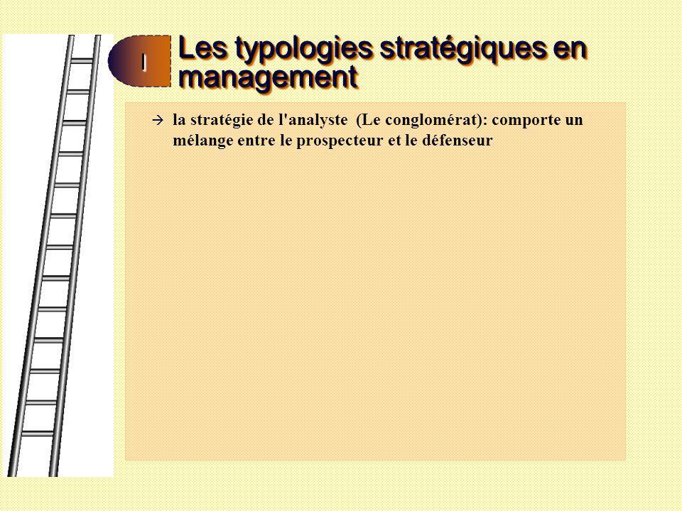 Les typologies stratégiques en management II à la stratégie de l'analyste (Le conglomérat): comporte un mélange entre le prospecteur et le défenseur