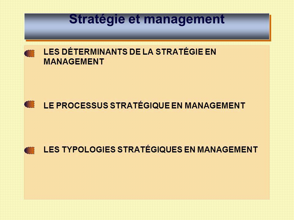 Stratégie et management LES DÉTERMINANTS DE LA STRATÉGIE EN MANAGEMENT Culture et philosophie de gestion Vision Valeurs Mission Objectifs Environnement