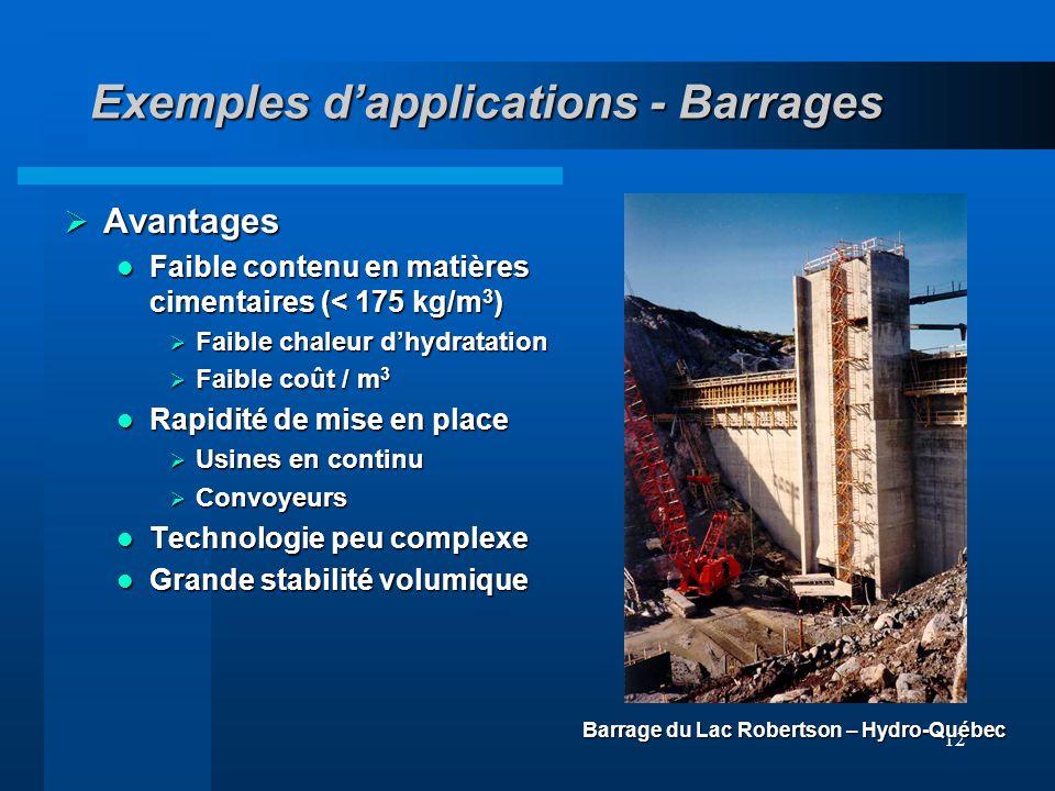 12 Exemples dapplications - Barrages Avantages Avantages Faible contenu en matières cimentaires (< 175 kg/m 3 ) Faible contenu en matières cimentaires
