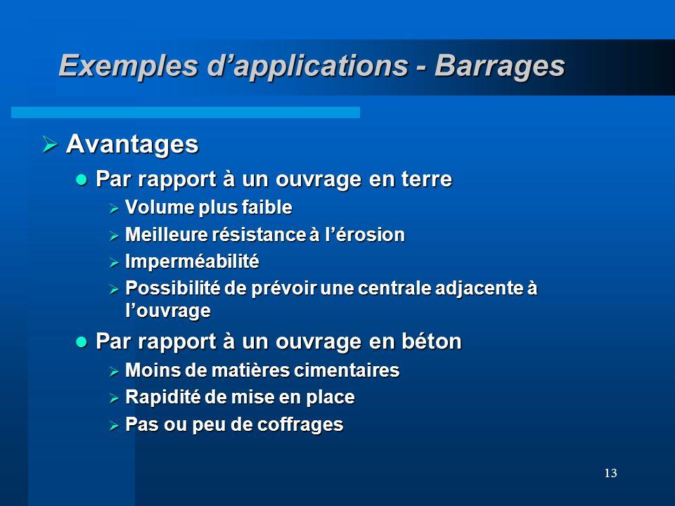 13 Exemples dapplications - Barrages Avantages Avantages Par rapport à un ouvrage en terre Par rapport à un ouvrage en terre Volume plus faible Volume