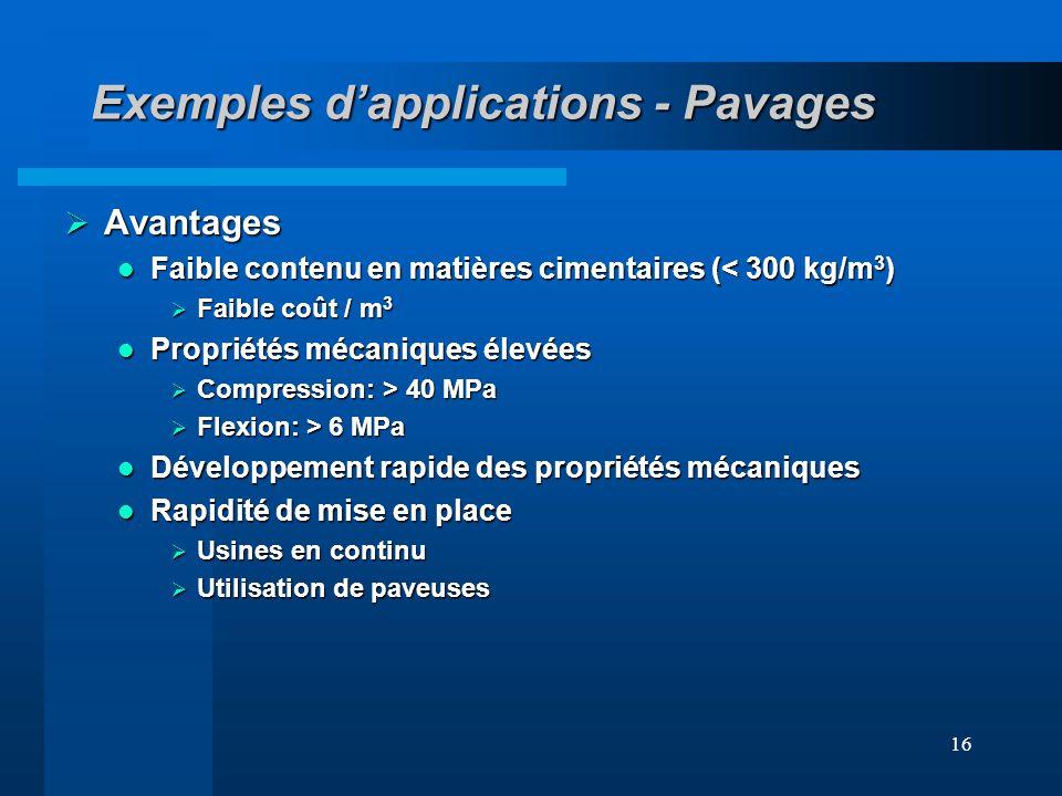 16 Exemples dapplications - Pavages Avantages Avantages Faible contenu en matières cimentaires (< 300 kg/m 3 ) Faible contenu en matières cimentaires