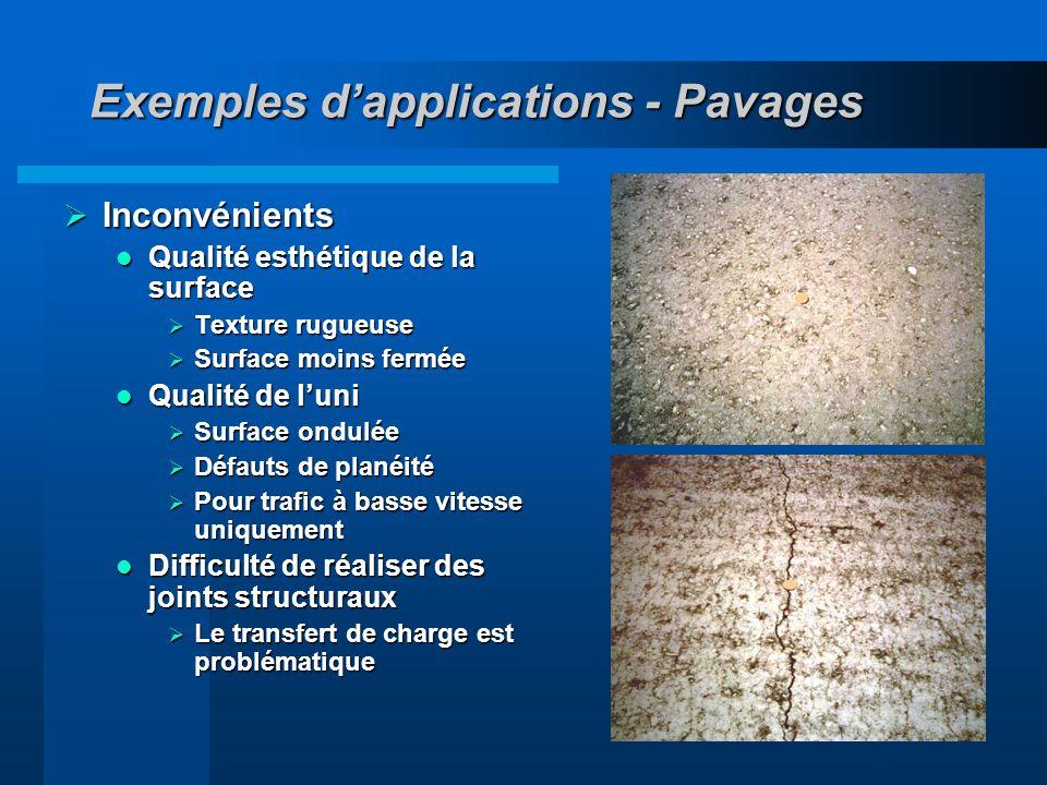 18 Exemples dapplications - Pavages Inconvénients Inconvénients Qualité esthétique de la surface Qualité esthétique de la surface Texture rugueuse Tex