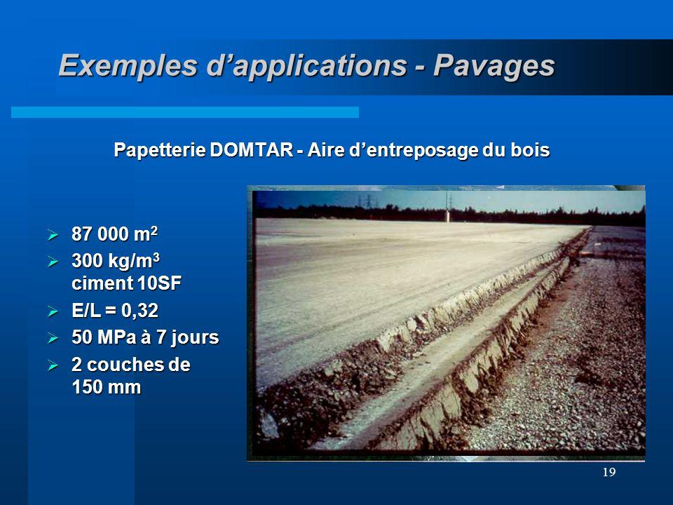 19 Exemples dapplications - Pavages Papetterie DOMTAR - Aire dentreposage du bois 87 000 m 2 87 000 m 2 300 kg/m 3 ciment 10SF 300 kg/m 3 ciment 10SF