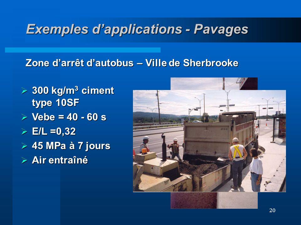 20 Exemples dapplications - Pavages Zone darrêt dautobus – Ville de Sherbrooke 300 kg/m 3 ciment type 10SF 300 kg/m 3 ciment type 10SF Vebe = 40 - 60