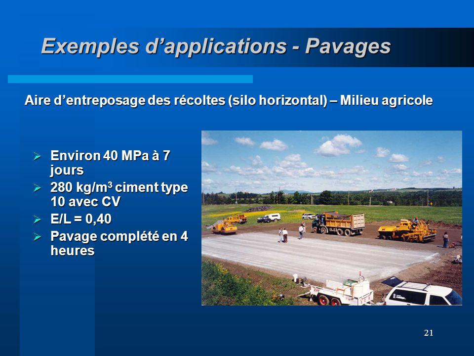 21 Exemples dapplications - Pavages Aire dentreposage des récoltes (silo horizontal) – Milieu agricole Environ 40 MPa à 7 jours Environ 40 MPa à 7 jou