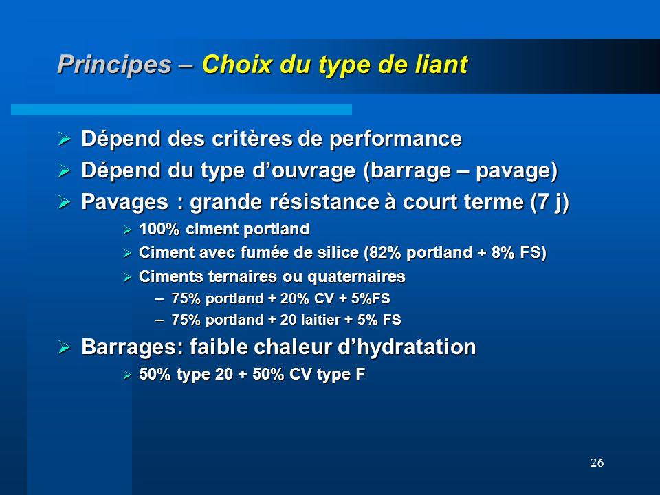 26 Principes – Choix du type de liant Dépend des critères de performance Dépend des critères de performance Dépend du type douvrage (barrage – pavage)