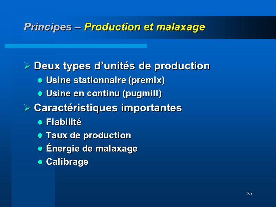 27 Principes – Production et malaxage Deux types dunités de production Deux types dunités de production Usine stationnaire (premix) Usine stationnaire