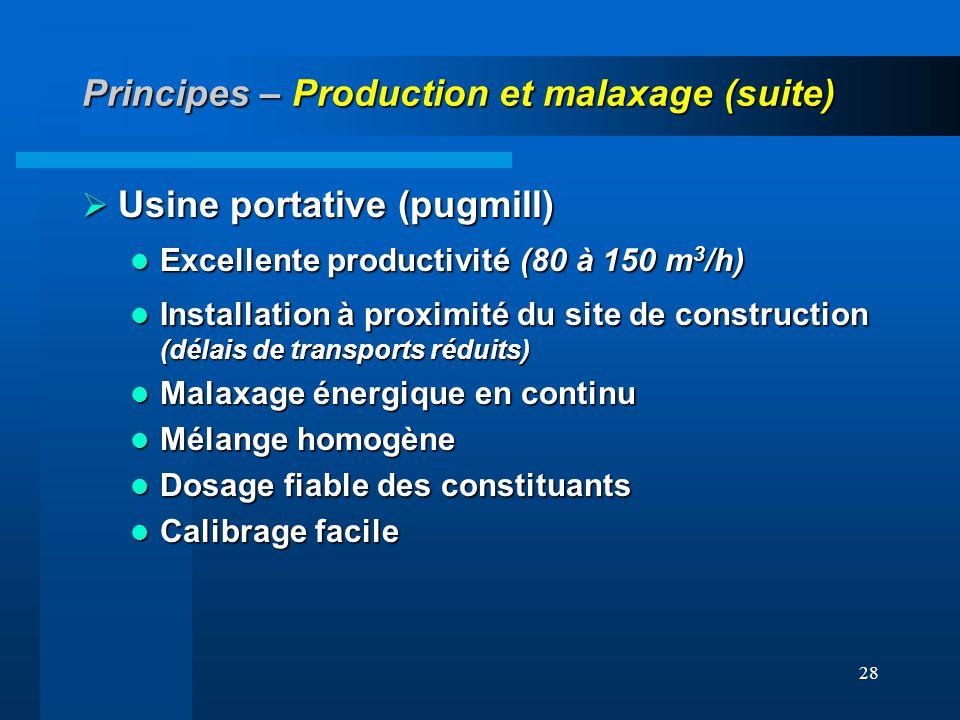 28 Principes – Production et malaxage (suite) Usine portative (pugmill) Usine portative (pugmill) Excellente productivité (80 à 150 m 3 /h) Excellente