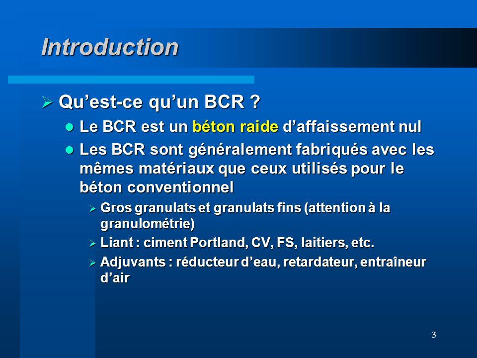 3 Introduction Quest-ce quun BCR ? Quest-ce quun BCR ? Le BCR est un béton raide daffaissement nul Le BCR est un béton raide daffaissement nul Les BCR