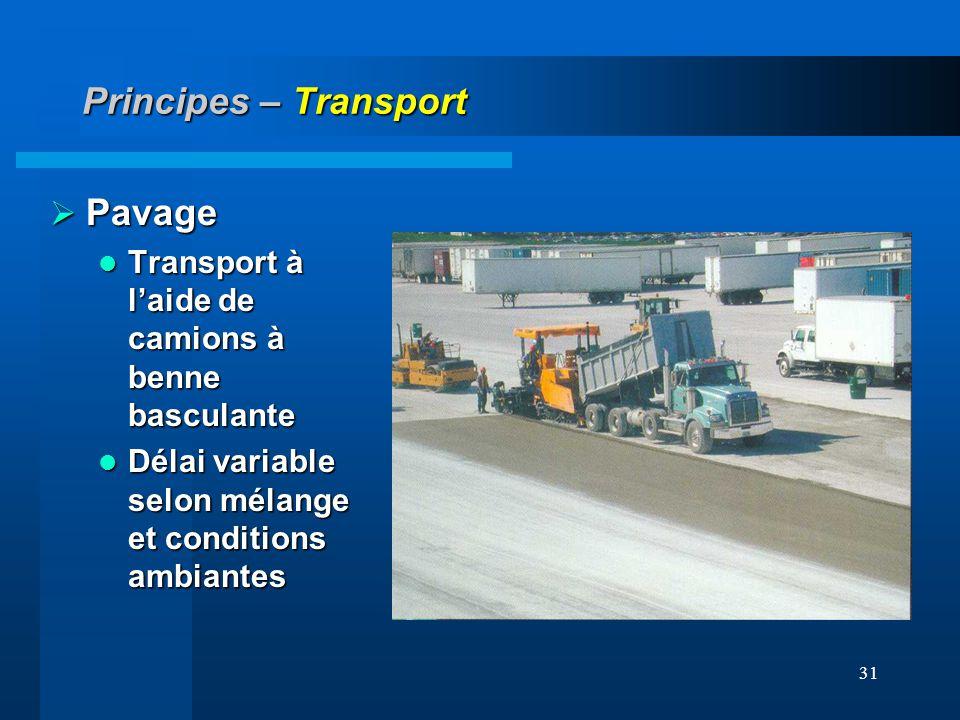 31 Principes – Transport Pavage Pavage Transport à laide de camions à benne basculante Transport à laide de camions à benne basculante Délai variable