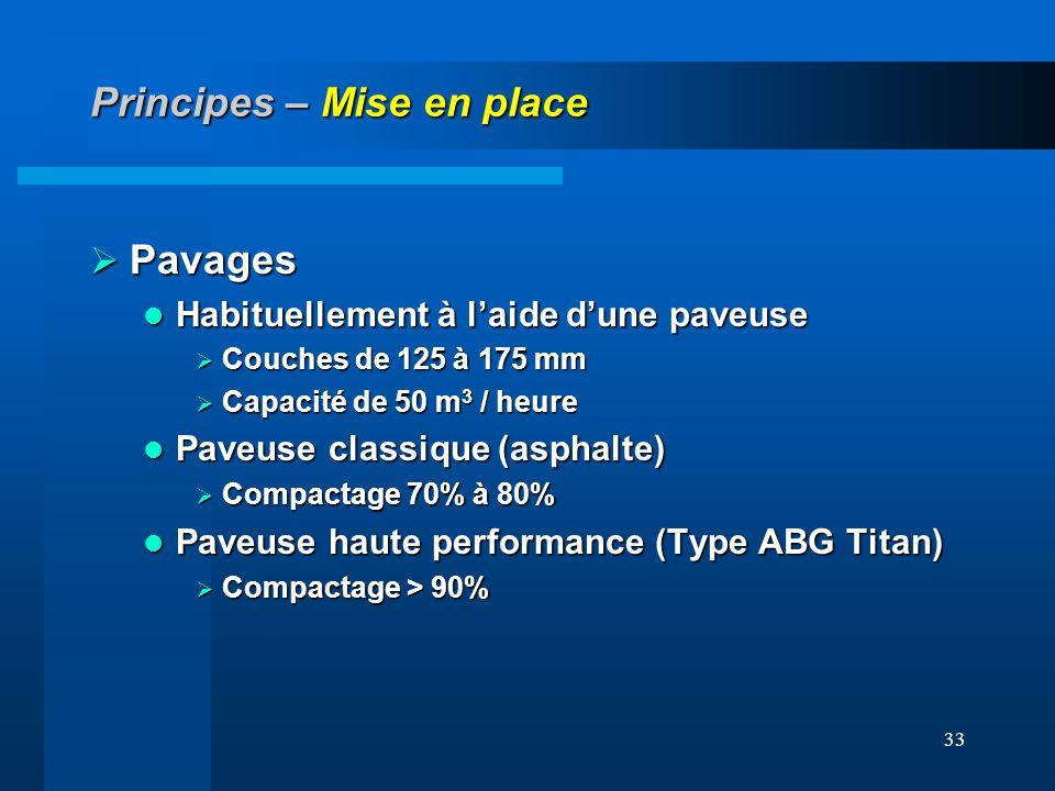 33 Principes – Mise en place Pavages Pavages Habituellement à laide dune paveuse Habituellement à laide dune paveuse Couches de 125 à 175 mm Couches d