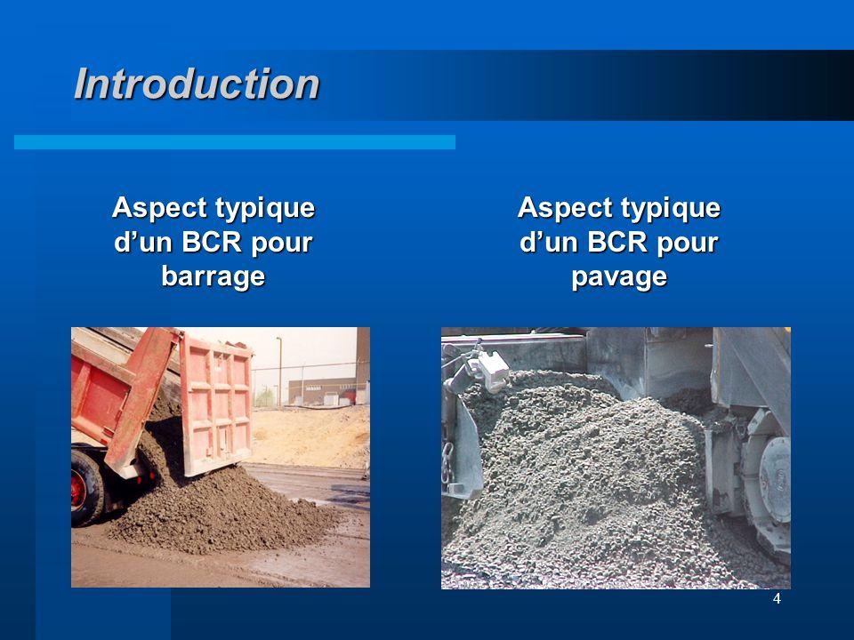 4 Introduction Aspect typique dun BCR pour barrage Aspect typique dun BCR pour pavage