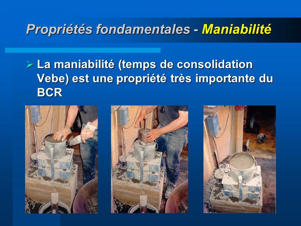 41 Propriétés fondamentales - Maniabilité La maniabilité (temps de consolidation Vebe) est une propriété très importante du BCR La maniabilité (temps