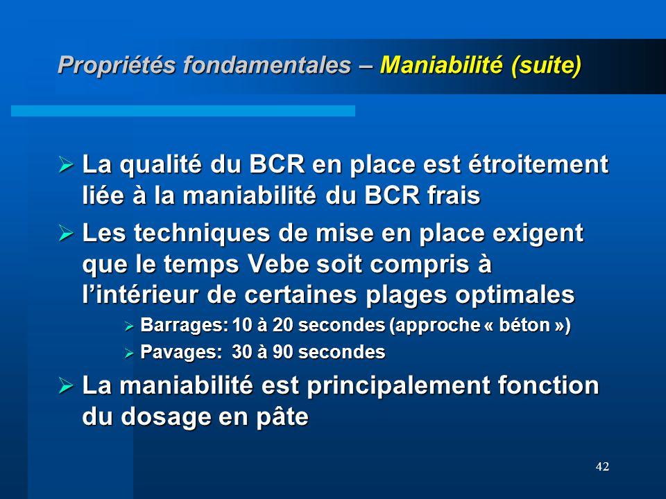 42 Propriétés fondamentales – Maniabilité (suite) La qualité du BCR en place est étroitement liée à la maniabilité du BCR frais La qualité du BCR en p