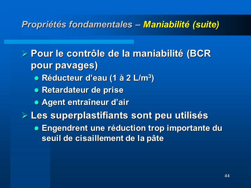 44 Propriétés fondamentales – Maniabilité (suite) Pour le contrôle de la maniabilité (BCR pour pavages) Pour le contrôle de la maniabilité (BCR pour p