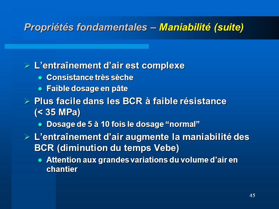 45 Propriétés fondamentales – Maniabilité (suite) Lentraînement dair est complexe Lentraînement dair est complexe Consistance très sèche Consistance t