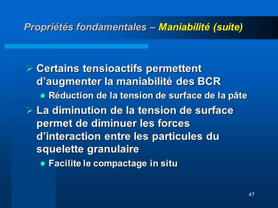 47 Propriétés fondamentales – Maniabilité (suite) Certains tensioactifs permettent daugmenter la maniabilité des BCR Certains tensioactifs permettent