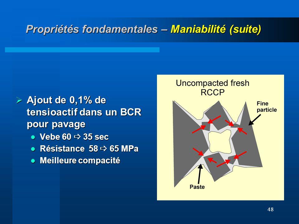 48 Propriétés fondamentales – Maniabilité (suite) Ajout de 0,1% de tensioactif dans un BCR pour pavage Ajout de 0,1% de tensioactif dans un BCR pour p