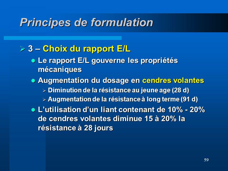 59 Principes de formulation 3 – Choix du rapport E/L 3 – Choix du rapport E/L Le rapport E/L gouverne les propriétés mécaniques Le rapport E/L gouvern