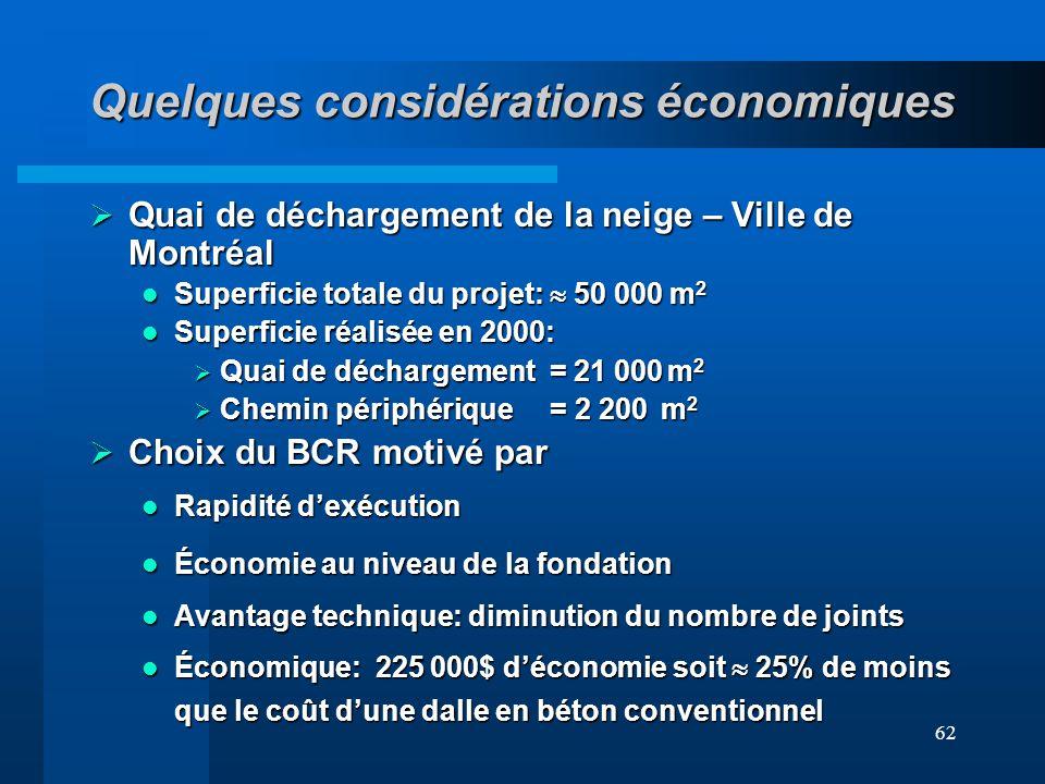 62 Quelques considérations économiques Quai de déchargement de la neige – Ville de Montréal Quai de déchargement de la neige – Ville de Montréal Super