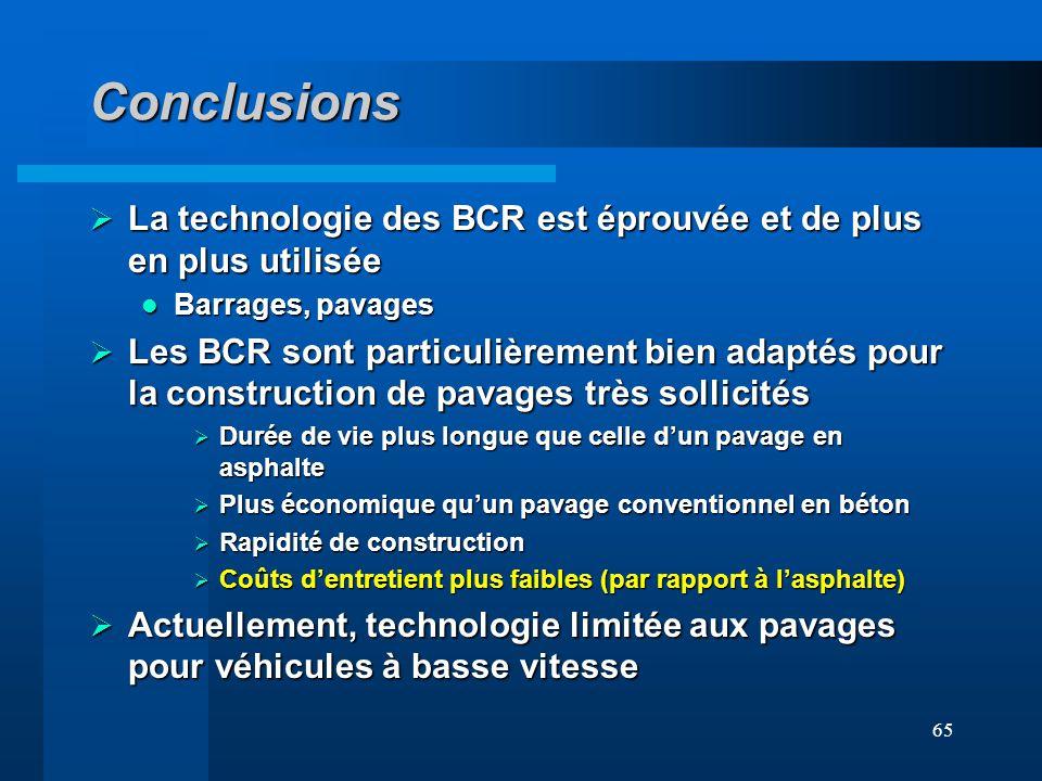 65 Conclusions La technologie des BCR est éprouvée et de plus en plus utilisée La technologie des BCR est éprouvée et de plus en plus utilisée Barrage
