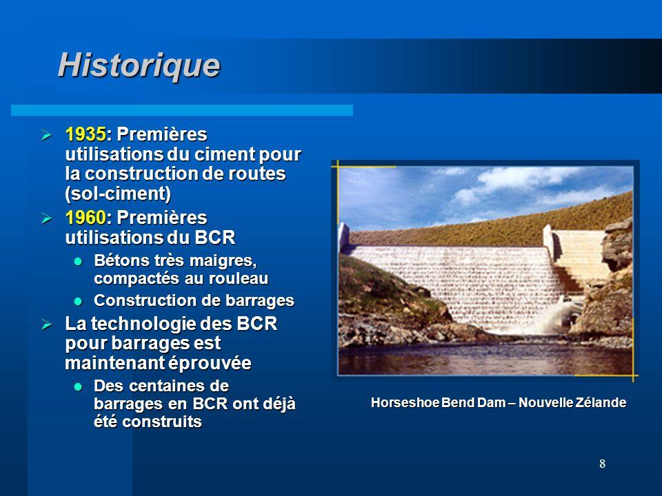 8 Historique 1935: Premières utilisations du ciment pour la construction de routes (sol-ciment) 1935: Premières utilisations du ciment pour la constru