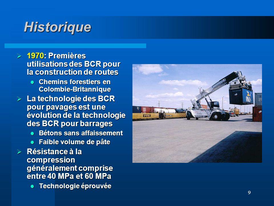 9 Historique 1970: Premières utilisations des BCR pour la construction de routes 1970: Premières utilisations des BCR pour la construction de routes C