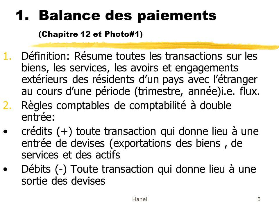 Hanel5 1.Balance des paiements (Chapitre 12 et Photo#1) 1.Définition: Résume toutes les transactions sur les biens, les services, les avoirs et engagements extérieurs des résidents dun pays avec létranger au cours dune période (trimestre, année)i.e.