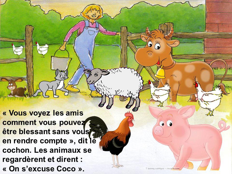 « Moi aussi, les animaux de la ferme ont rit de moi quand ils ont vu ma couleur et je sais combien cest pénible », dit le mouton noir au coq et au cochon.