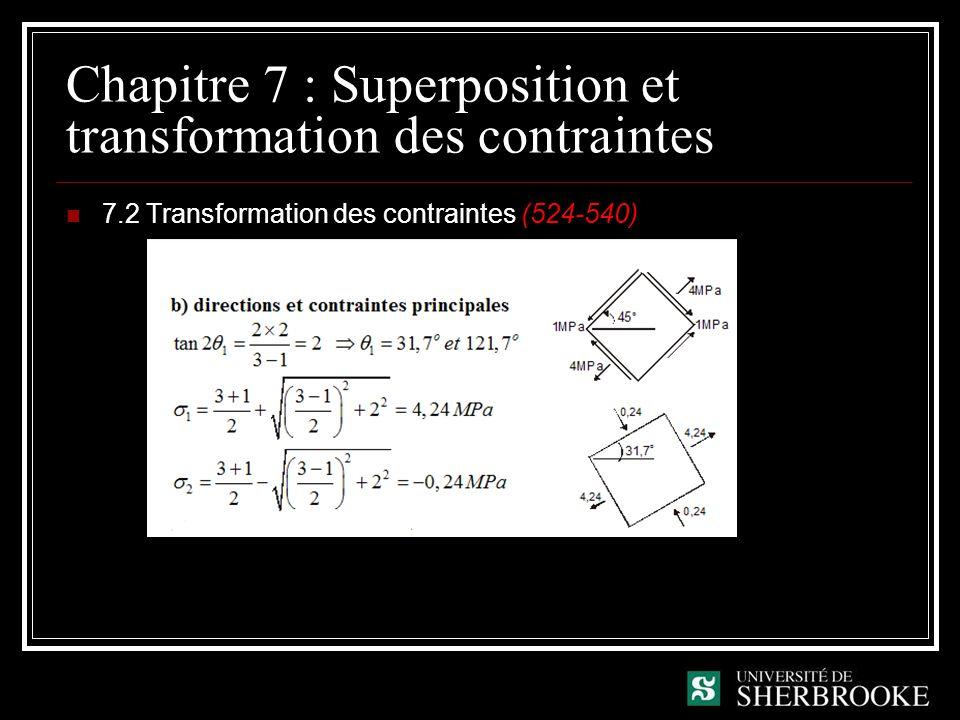 Chapitre 7 : Superposition et transformation des contraintes 7.2 Transformation des contraintes (524-540)