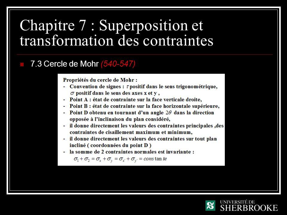 Chapitre 7 : Superposition et transformation des contraintes 7.3 Cercle de Mohr (540-547)