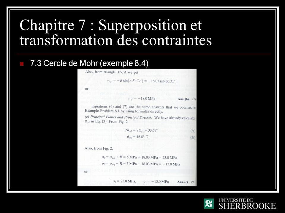 Chapitre 7 : Superposition et transformation des contraintes 7.3 Cercle de Mohr (exemple 8.4)