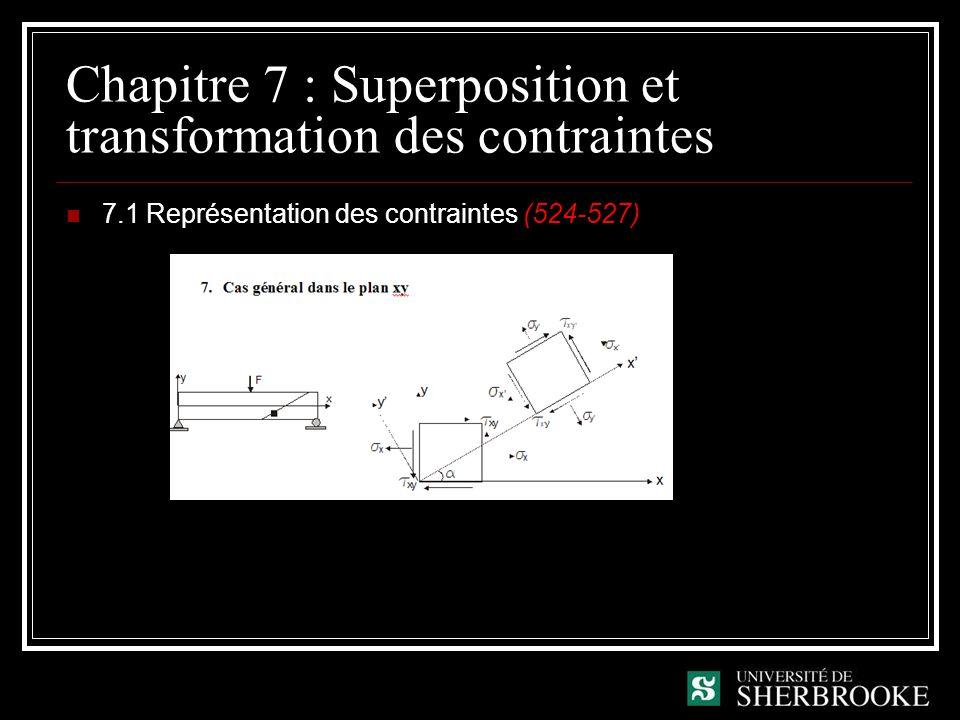 Chapitre 7 : Superposition et transformation des contraintes 7.1 Représentation des contraintes (524-527)