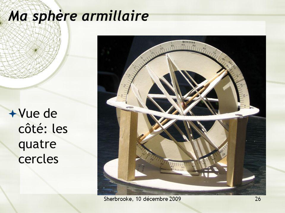 Sherbrooke, 10 décembre 200926 Ma sphère armillaire Vue de côté: les quatre cercles