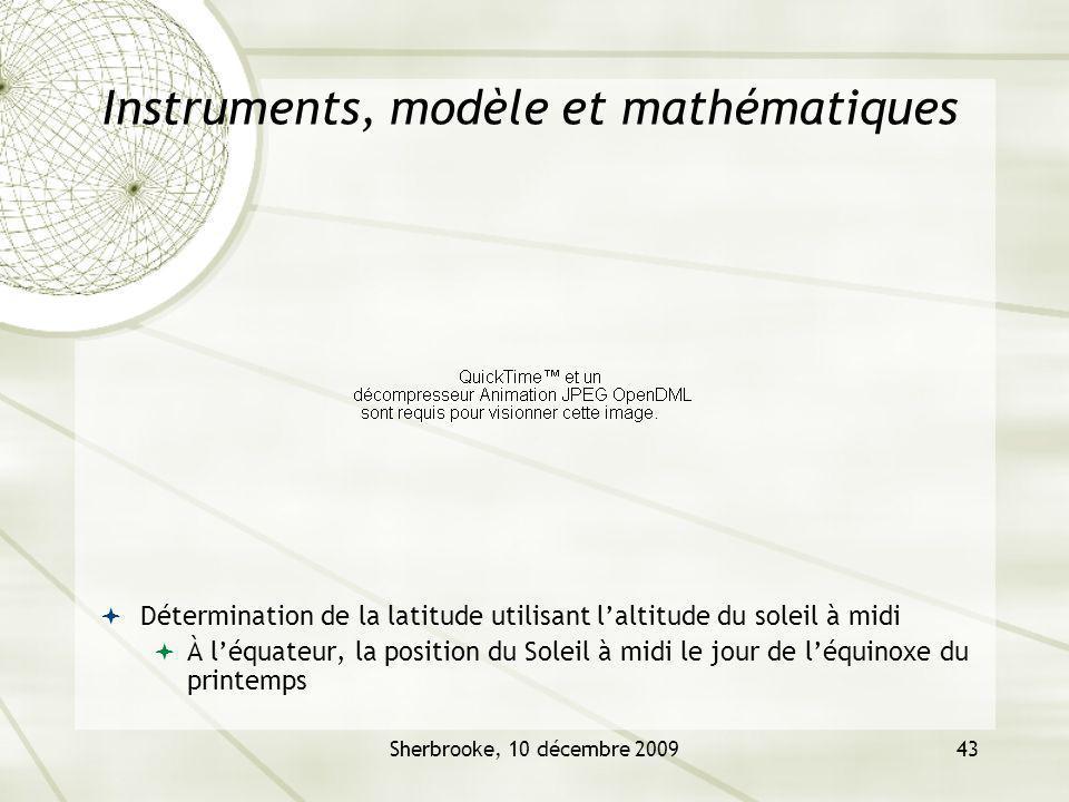 Sherbrooke, 10 décembre 200943 Instruments, modèle et mathématiques Détermination de la latitude utilisant laltitude du soleil à midi À léquateur, la