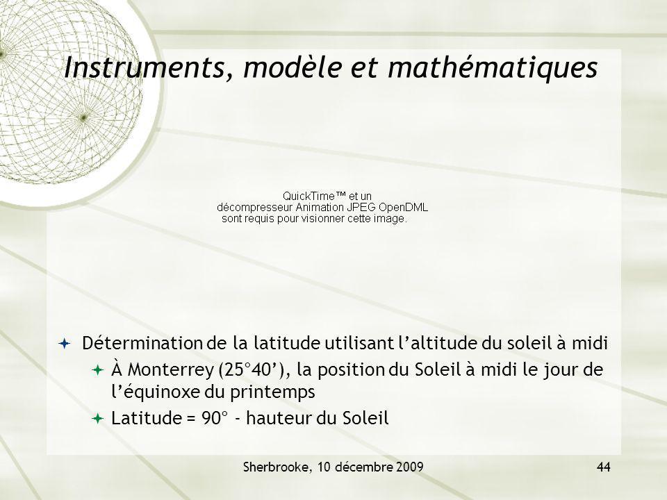 Sherbrooke, 10 décembre 200944 Instruments, modèle et mathématiques Détermination de la latitude utilisant laltitude du soleil à midi À Monterrey (25°40), la position du Soleil à midi le jour de léquinoxe du printemps Latitude = 90° - hauteur du Soleil