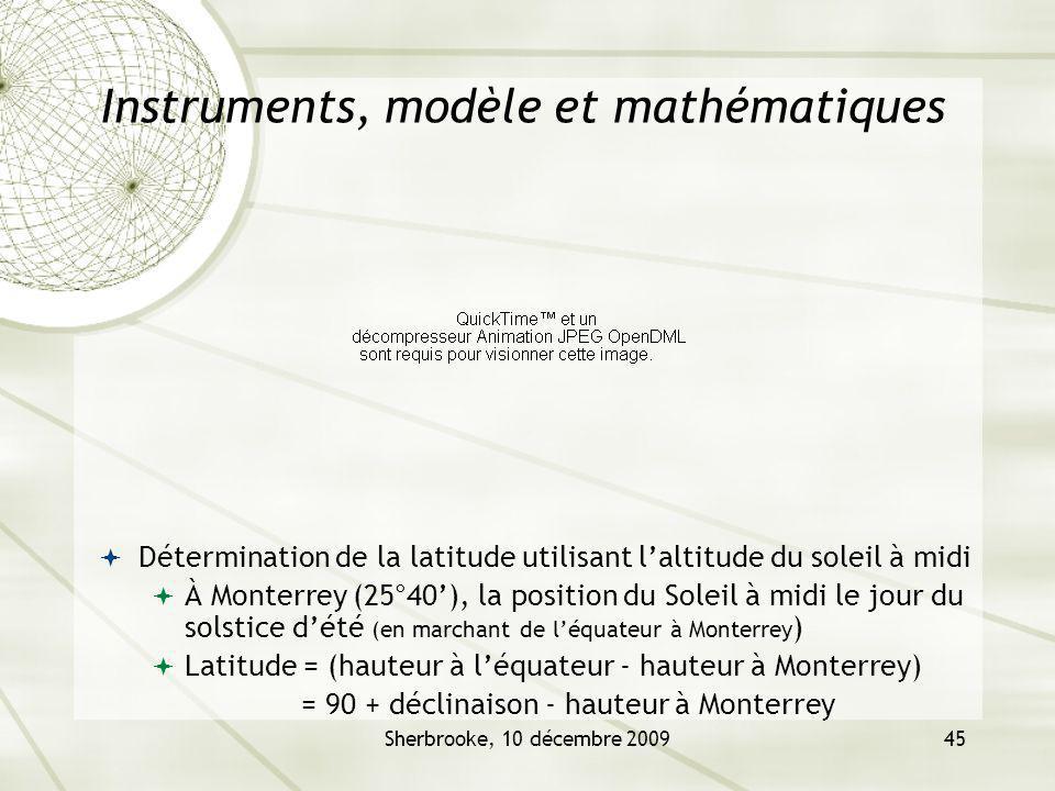 Sherbrooke, 10 décembre 200945 Instruments, modèle et mathématiques Détermination de la latitude utilisant laltitude du soleil à midi À Monterrey (25°