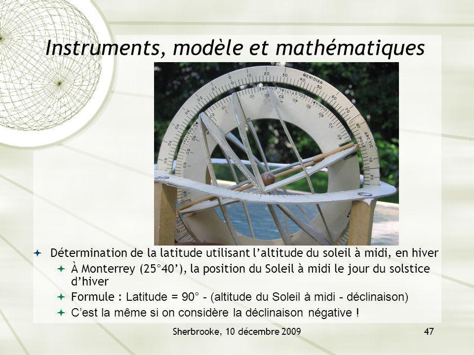 Sherbrooke, 10 décembre 200947 Instruments, modèle et mathématiques Détermination de la latitude utilisant laltitude du soleil à midi, en hiver À Mont