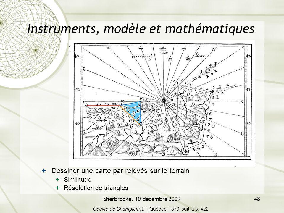 Sherbrooke, 10 décembre 200948 Instruments, modèle et mathématiques Dessiner une carte par relevés sur le terrain Similitude Résolution de triangles O