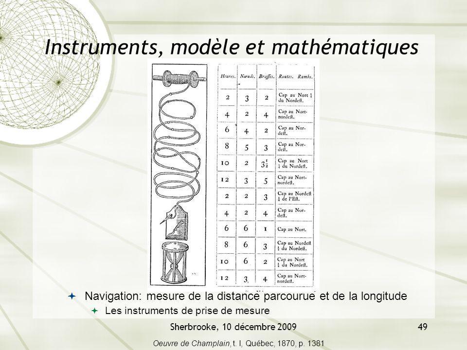 Sherbrooke, 10 décembre 200949 Instruments, modèle et mathématiques Navigation: mesure de la distance parcourue et de la longitude Les instruments de