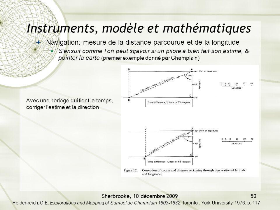 Sherbrooke, 10 décembre 200950 Instruments, modèle et mathématiques Navigation: mesure de la distance parcourue et de la longitude Sensuit comme lon p