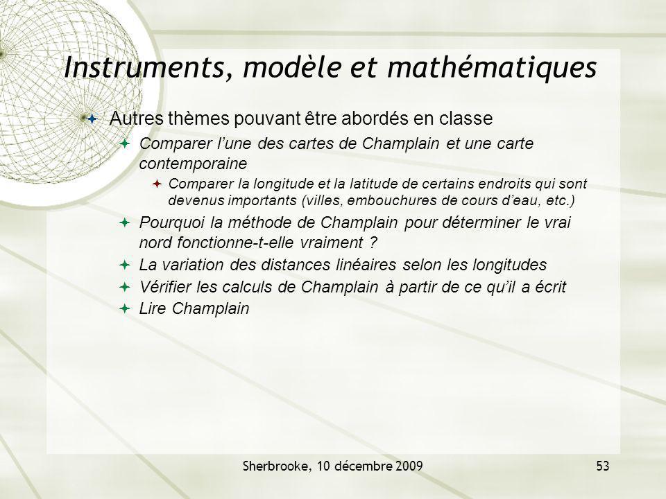 Sherbrooke, 10 décembre 200953 Instruments, modèle et mathématiques Autres thèmes pouvant être abordés en classe Comparer lune des cartes de Champlain