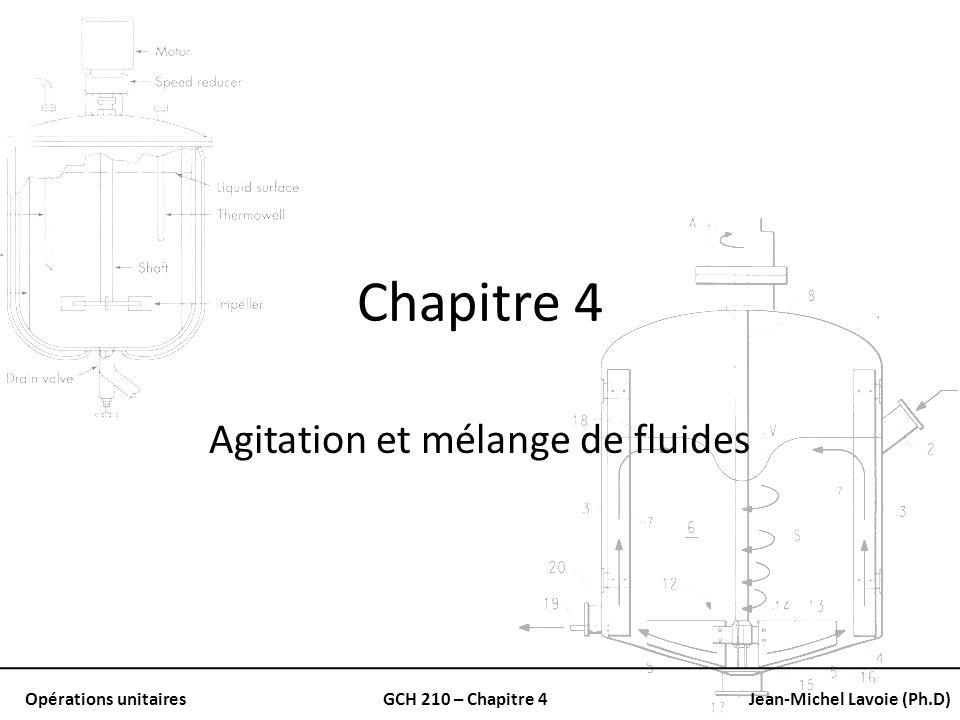 Opérations unitairesGCH 210 – Chapitre 4Jean-Michel Lavoie (Ph.D) Calcul de la puissance requise Avec des nombres de Reynolds plus bas: Les lignes de Np versus Re coïncident.
