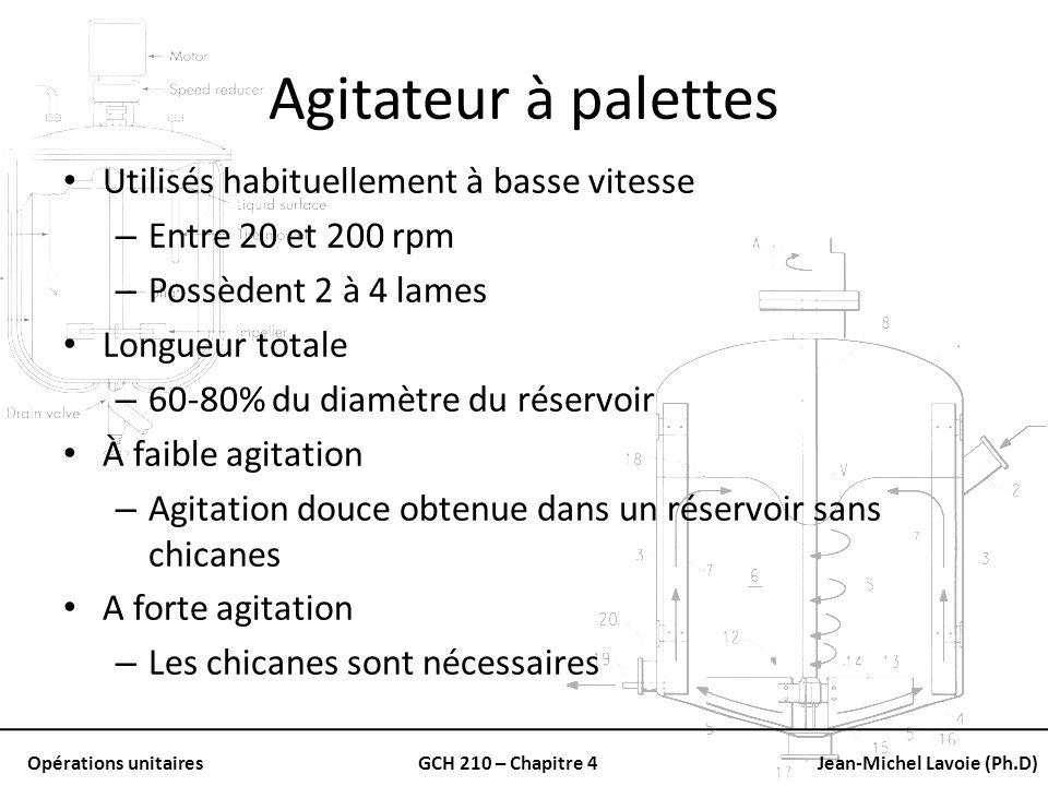 Opérations unitairesGCH 210 – Chapitre 4Jean-Michel Lavoie (Ph.D) Agitateur à palettes Utilisés habituellement à basse vitesse – Entre 20 et 200 rpm –