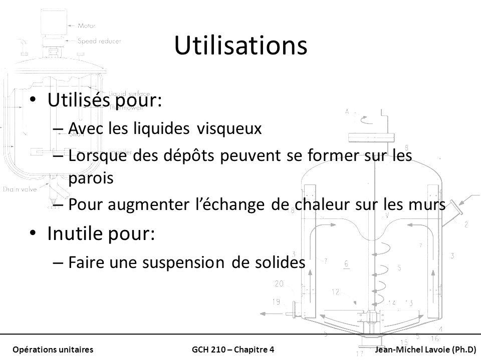 Opérations unitairesGCH 210 – Chapitre 4Jean-Michel Lavoie (Ph.D) Utilisations Utilisés pour: – Avec les liquides visqueux – Lorsque des dépôts peuven